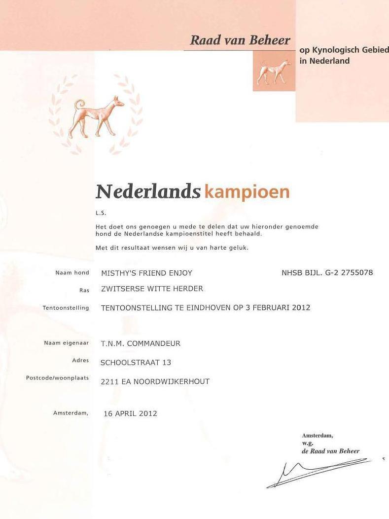 Enjoy Nederlands Kampioen