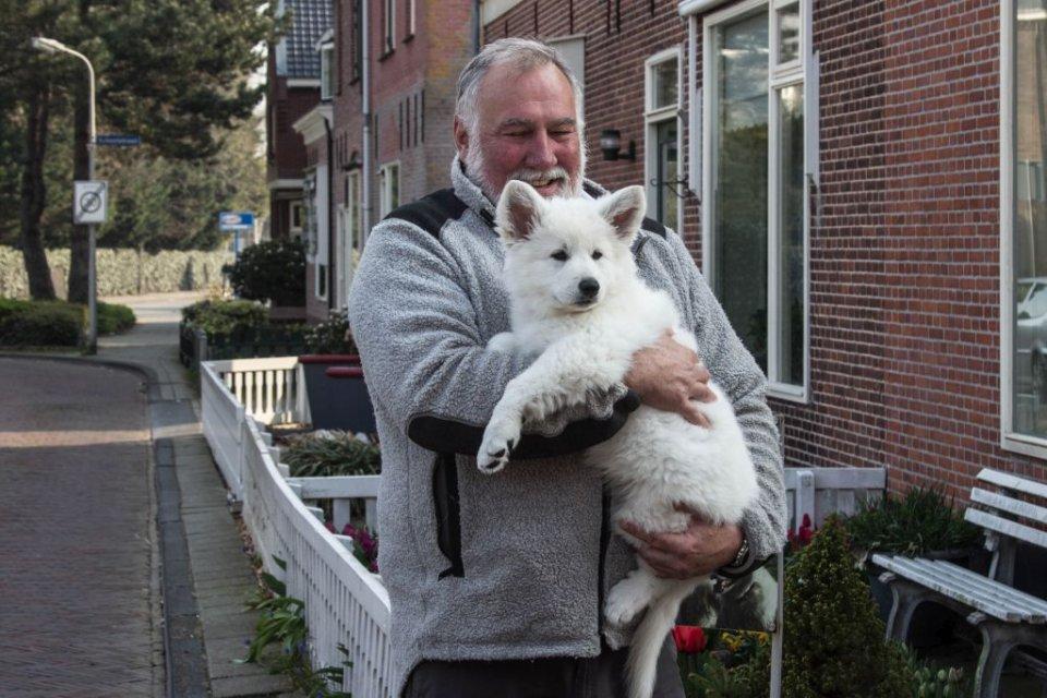 Zwitserse witte herder pup Misthy's Friends Qassia met nieuwe baasje