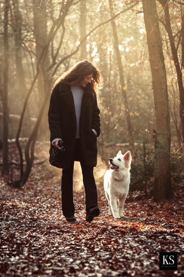 Zwitserse witte herder pup Rio In het bos december 2020